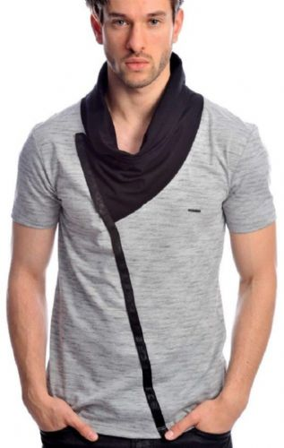 Fargo Designer  Grey Black Melange Cowl Neck Crew Fitted T Shirt Detailed